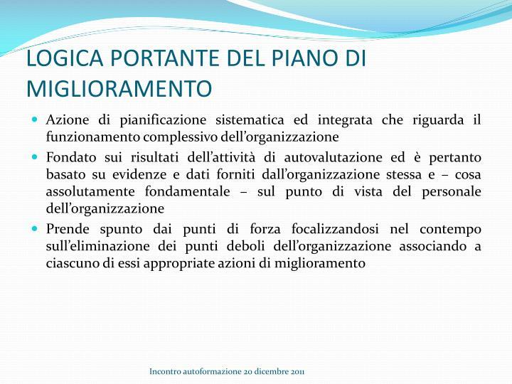 LOGICA PORTANTE DEL PIANO DI MIGLIORAMENTO