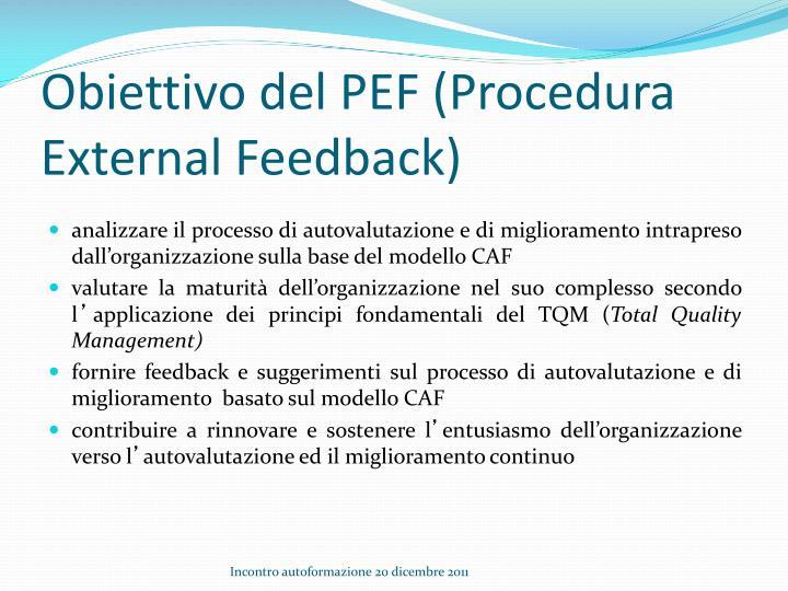 Obiettivo del pef procedura external feedback