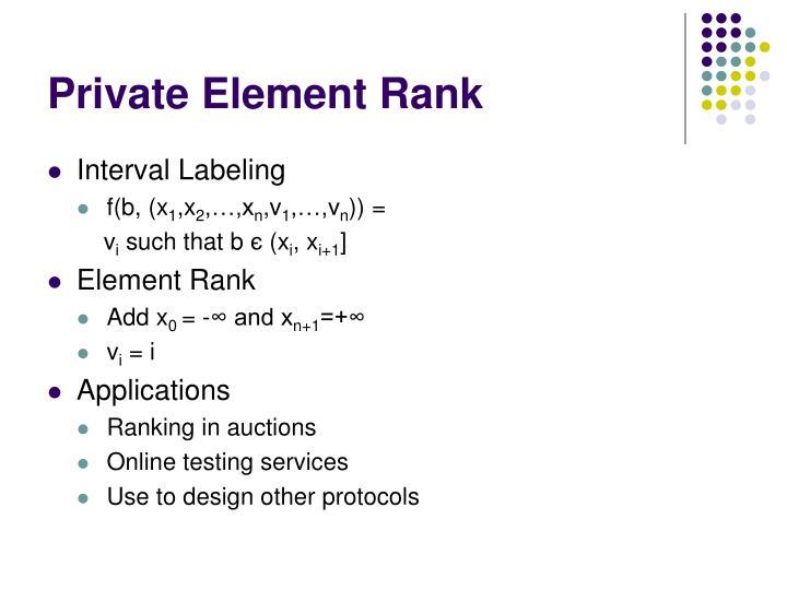 Private Element Rank