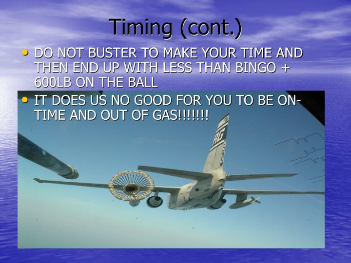 Timing (cont.)
