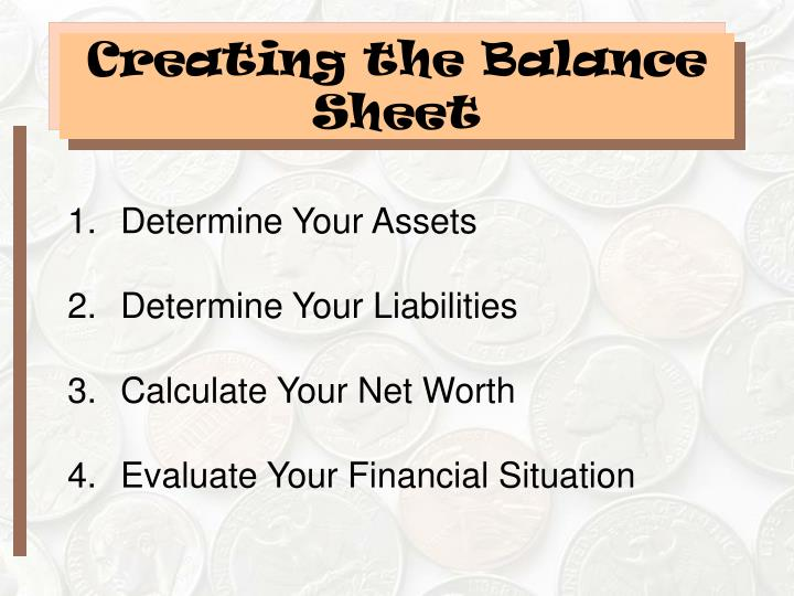 Creating the Balance Sheet