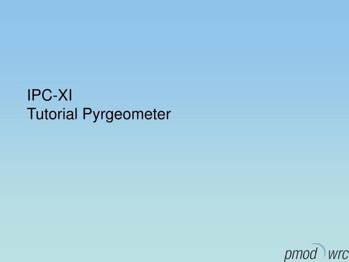 ipc xi tutorial pyrgeometer n.