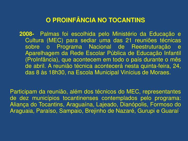 O PROINFÂNCIA NO TOCANTINS