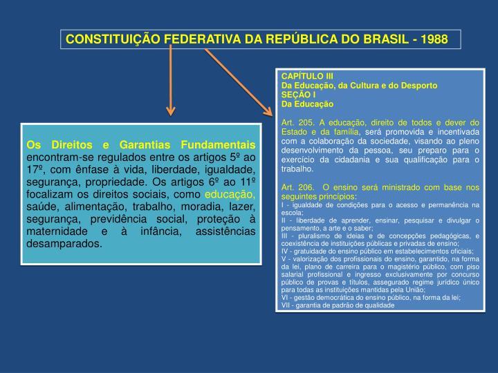 CONSTITUIÇÃO FEDERATIVA DA REPÚBLICA DO BRASIL - 1988