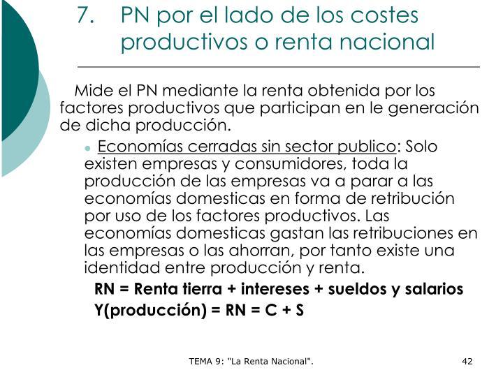 PN por el lado de los costes productivos o renta nacional