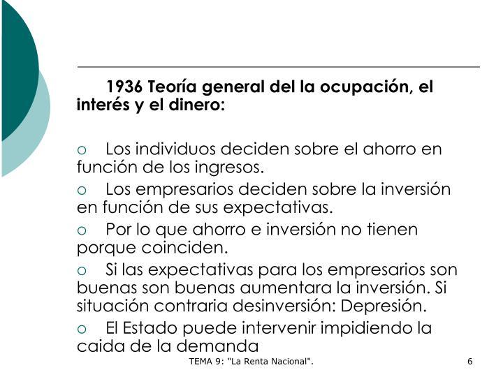 1936 Teoría general del la ocupación, el interés y el dinero: