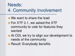 needs 4 community involvement