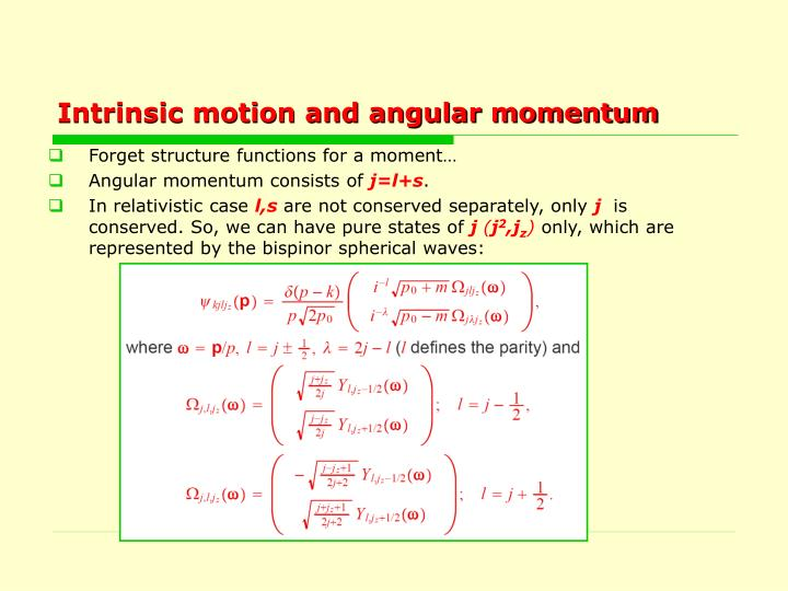 Intrinsic motion and angular momentum