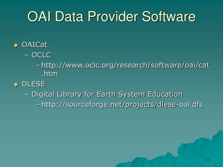 OAI Data Provider Software
