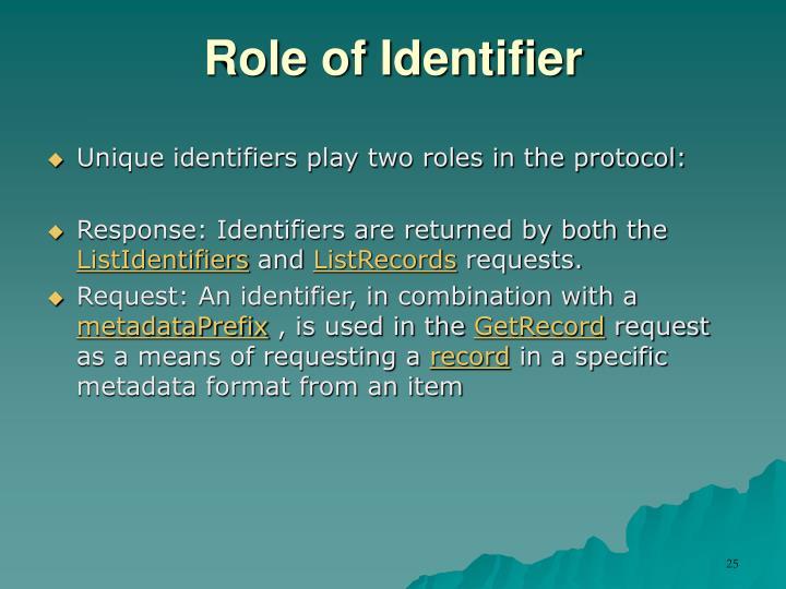 Role of Identifier