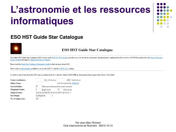L'astronomie et les ressources informatiques