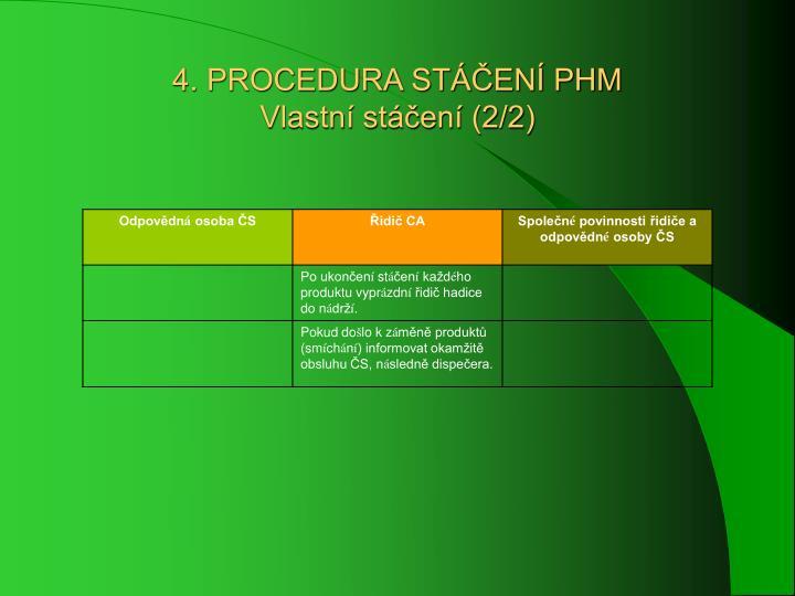 4. PROCEDURA STÁČENÍ PHM