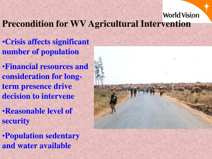 Precondition for WV Agricultural Intervention