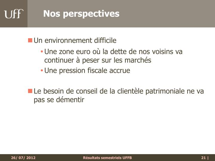 Nos perspectives