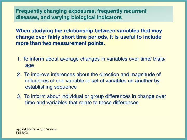 Frequently changing exposures, frequently recurrent diseases, and varying biological indicators