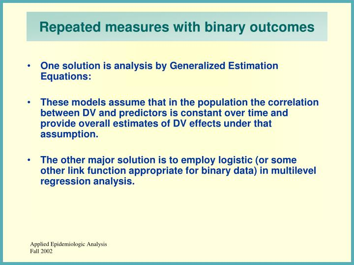 Repeated measures with binary outcomes