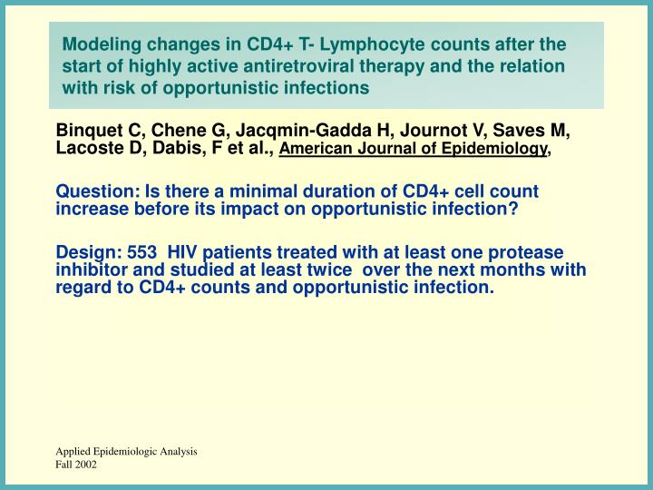 Modeling changes in CD4+ T- Lymphocyte counts after the start of highly active antiretroviral therapy and the relation with risk of opportunistic infections