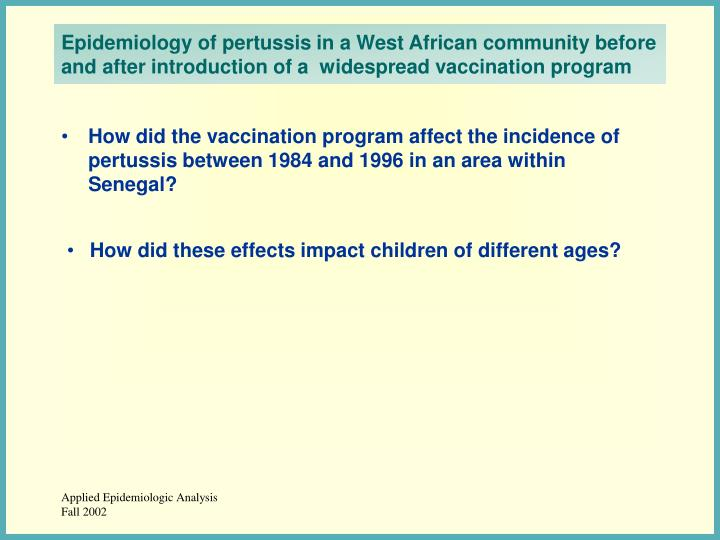 Epidemiology of pertussis in a West African community before and after introduction of a  widespread vaccination program