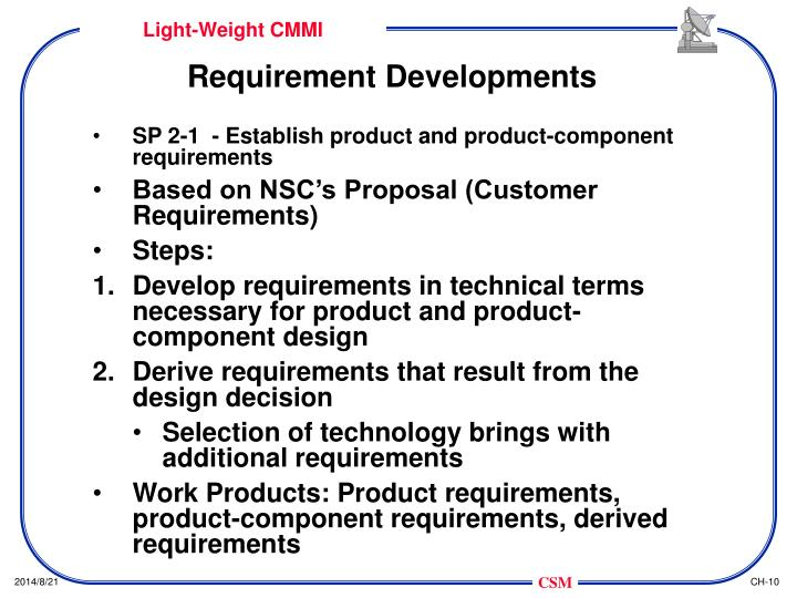 Requirement Developments