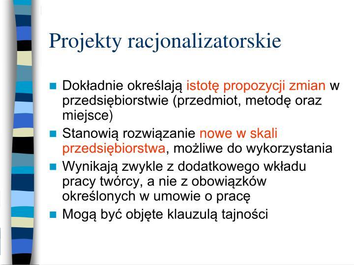 Projekty racjonalizatorskie