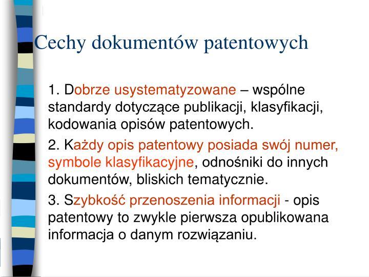 Cechy dokumentów patentowych