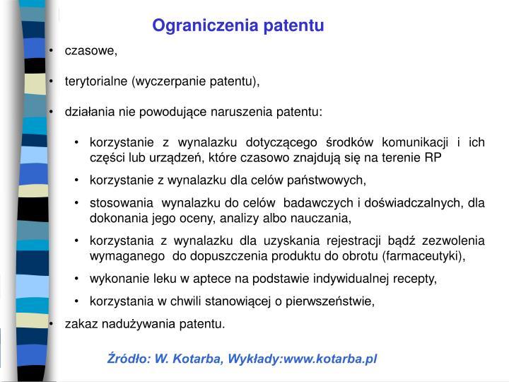 Ograniczenia patentu
