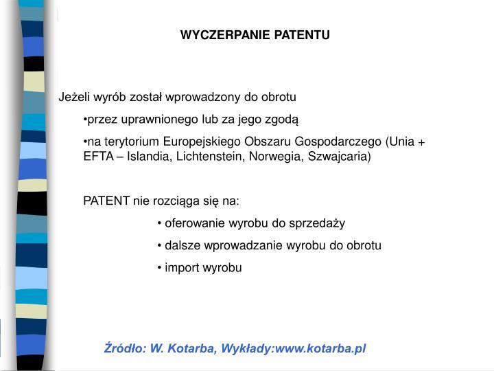 WYCZERPANIE PATENTU