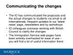 communicating the changes