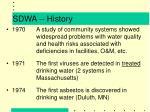 sdwa history