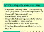 sdwa major provisions 1986