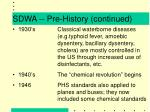 sdwa pre history continued