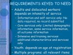 requirements keyed to need