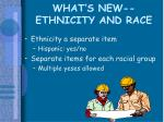 what s new ethnicity and race