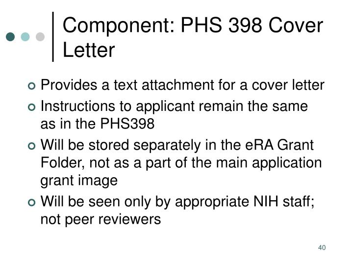 Component: PHS 398 Cover Letter