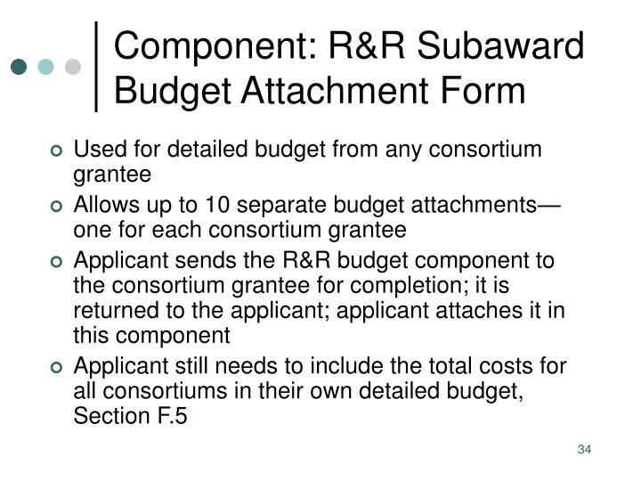 Component: R&R Subaward Budget Attachment Form