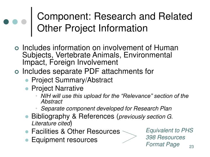 Component: Research and Related Other Project Information
