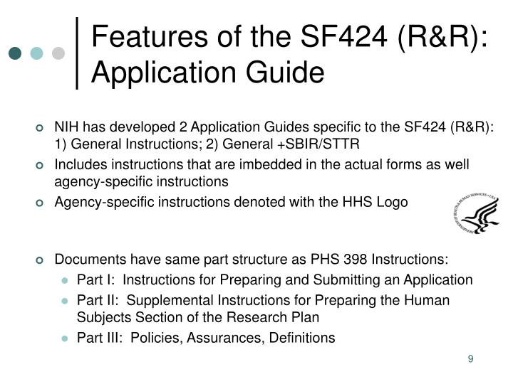 Features of the SF424 (R&R):  Application Guide