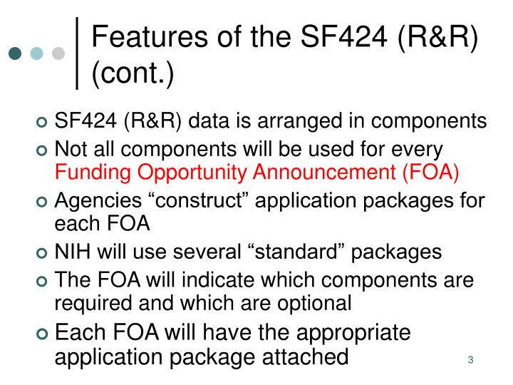 Features of the sf424 r r cont