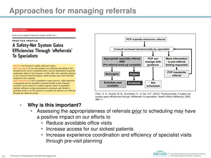 Approaches for managing referrals