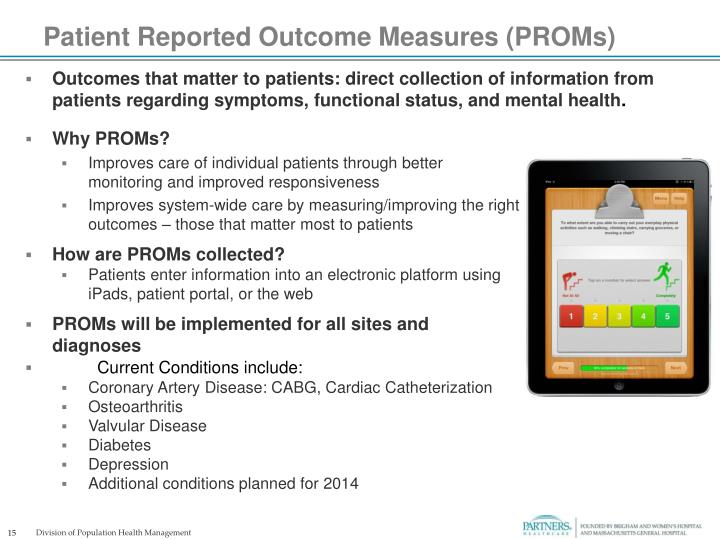 Patient Reported Outcome Measures (PROMs)