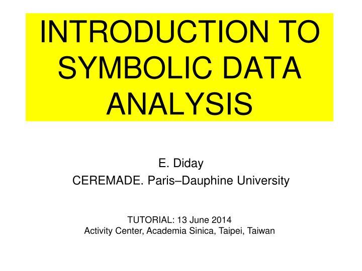 introduction to symbolic data analysis n.