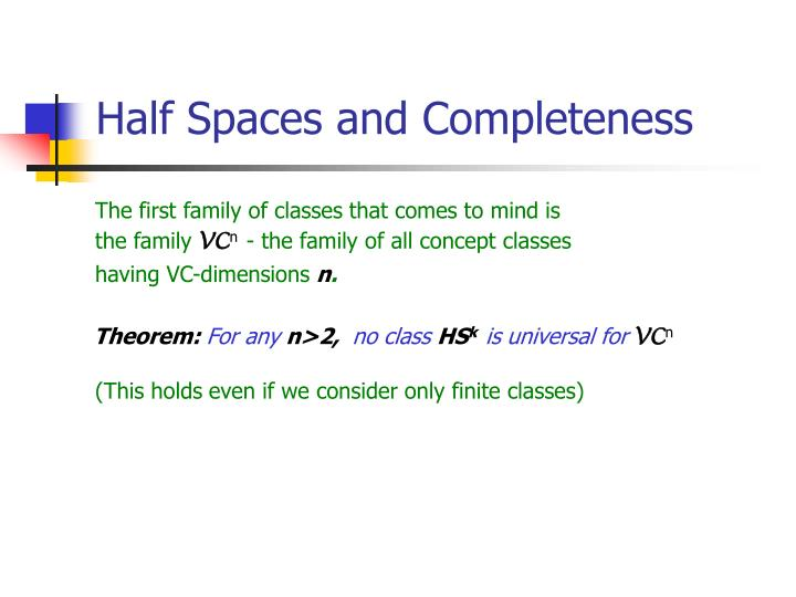 Half Spaces and Completeness