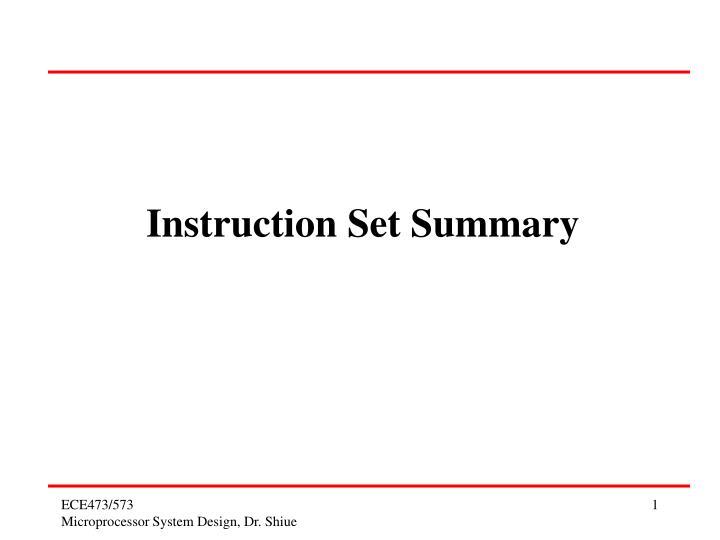 instruction set summary n.