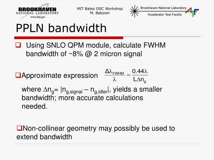 PPLN bandwidth