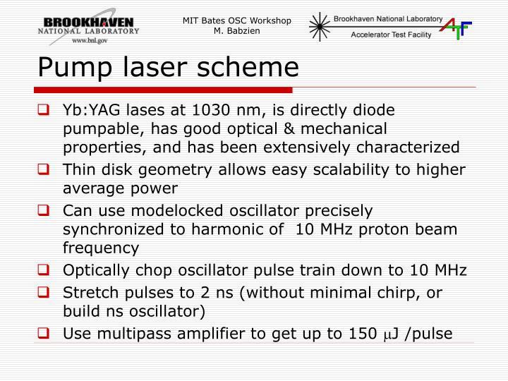 Pump laser scheme