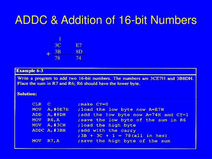 ADDC & Addition of 16-bit Numbers