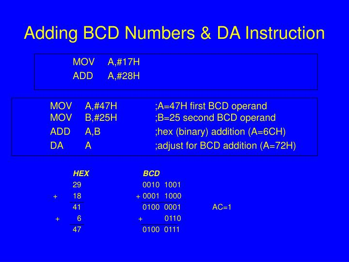 Adding BCD Numbers & DA Instruction