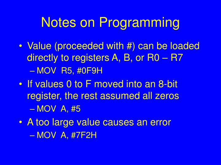 Notes on programming