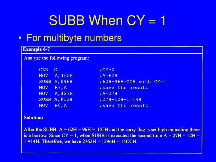 SUBB When CY = 1