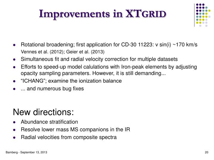 Improvements in XT